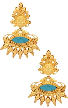 Sangeeta Boochra Gold plated drop earrings with turquoise stone