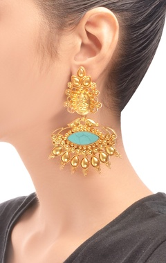 Gold plated drop earrings with turquoise stone