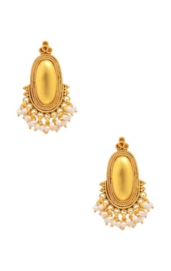 Sangeeta Boochra Gold plated drop earrings with pearls
