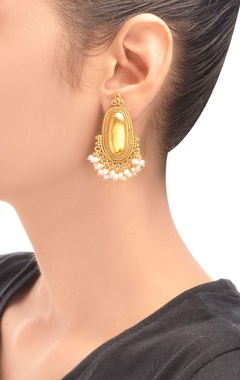 gold plated drop earrings with pearls