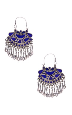 Sangeeta Boochra Antique silver & royal blue danglers