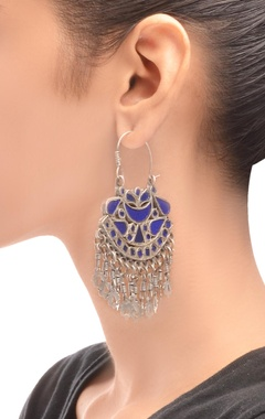 Antique silver & royal blue danglers