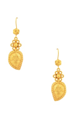Sangeeta Boochra Gold plated embossed drop earrings