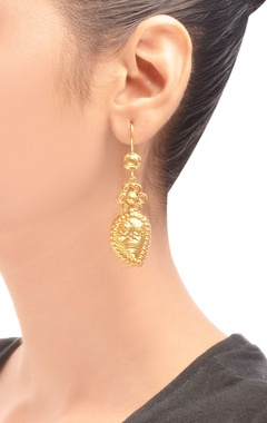 gold plated embossed drop earrings