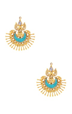 Sangeeta Boochra Gold plated peacock earrings with turquoise stone
