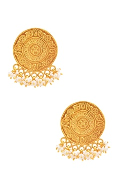 Sangeeta Boochra Gold plated earrings with pearls