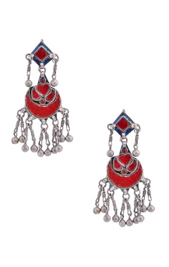 Sangeeta Boochra Antique silver drop earrings with enamel work
