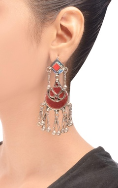 antique silver drop earrings with enamel work