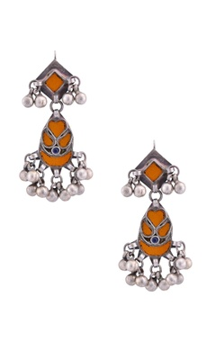 antique silver drop earrings with ghungroos