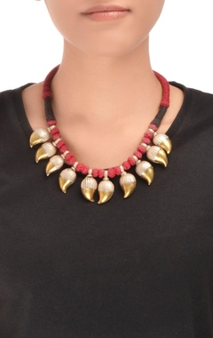 Red & black thread necklace with gold dipped leaves