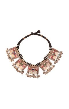 Sangeeta Boochra Black thread necklace with drop pendants & ghungroos