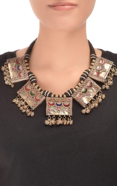 Black thread necklace with drop pendants & ghungroos