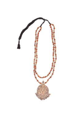 antique gold rudraksh long necklace & pendant