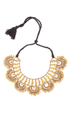 Sangeeta Boochra Antique gold & silver thread necklace with drop pendants