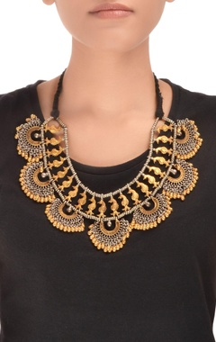 Antique gold & silver thread necklace with drop pendants