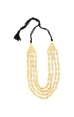 Sangeeta Boochra Gold plated four tiered floral long necklace