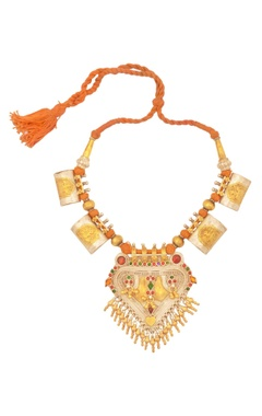 Sangeeta Boochra Orange thread necklace with drop pendants