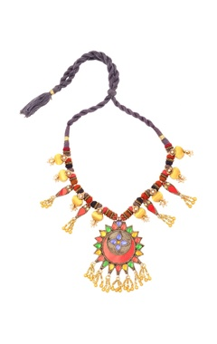 Sangeeta Boochra Multi-colored thread necklace with ghungroos