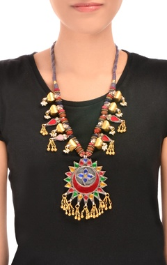 multi-colored thread necklace with ghungroos