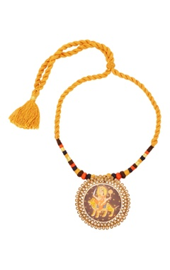 Sangeeta Boochra Yellow thread necklace with goddess Durga pendant
