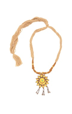 brown thread necklace with pendant & ghungroos
