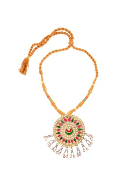 Sangeeta Boochra Brown thread necklace with round pendant