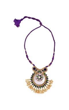Sangeeta Boochra Purple thread necklace with enamel work pendant