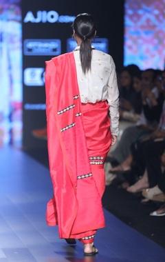 ivory motif print silk shirt