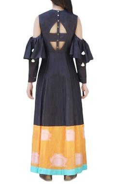 Black cold-shoulder maxi dress
