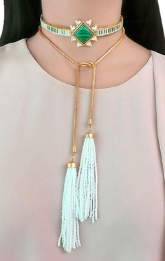 Rose gold plated choker with beaded tassels