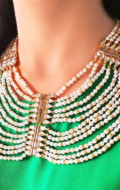 Gold plated multi-layered pearl necklace