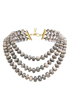 Gold plated three strand moonstone necklace