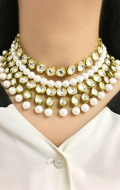 Gold plated layered choker necklace with pearls