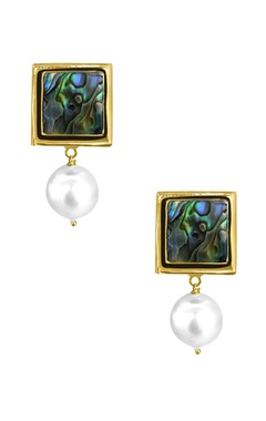 Gold plated drop earrings with natural stones
