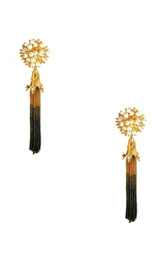 Gold plated tassel earrings with pearls