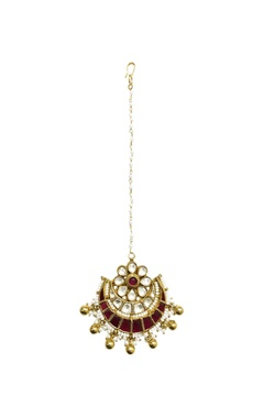 Gold plated beaded and kundan maangtika