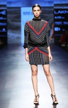 Nupur Kanoi black beaded mini skirt