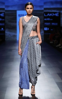 Grey & blue bandhani sari
