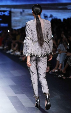 silver grey embellished blazer