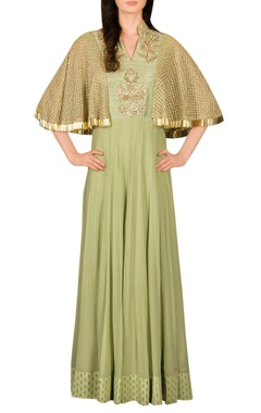 green zardosi work anarkali kurta with cape sleeves