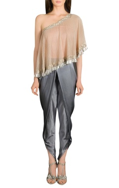 Grey dhoti pants with one shoulder cape top