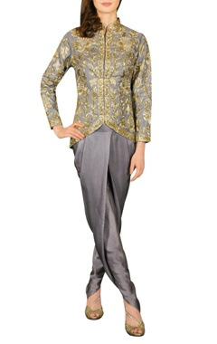 Grey embroidered jacket with dhoti pants