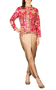 Pink  embroidered jacket with copper dhoti pants
