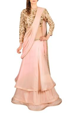pale pink lehenga sari with blouse