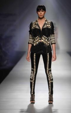 Black tribal fringed jacket