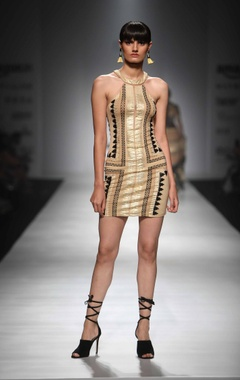 Gold aztec short dress
