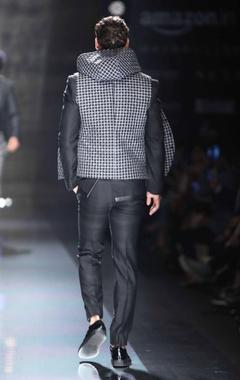 black shirt with asymmetric collar