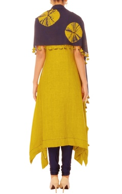 Mustard tunic with tie dye scarf