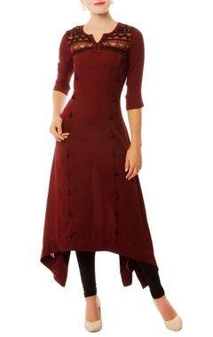 Wine asymmetric kurta with tassels