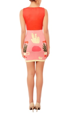 Red & pink cactus print short dress